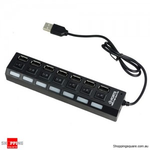 7 Port USB 2.0 High Speed HUB with Sharing Switch - Black