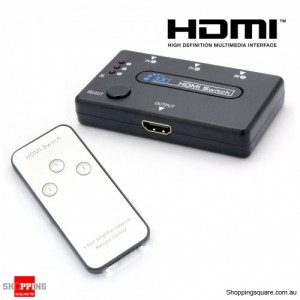 3 Port HDMI Switch Switcher Hub with Remote Control Splitter Box 1080p Full HD