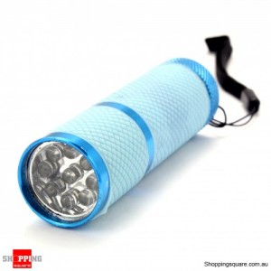 9 LED Outdoor Flashlight Lamp Torch Flash - Light Blue Color