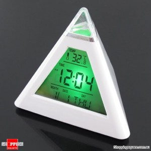 7 LED Color Pyramid Digital LCD Alarm Clock Thermometer