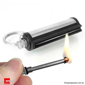 New Permanent Match Striker Lighters w Key Chain Silver