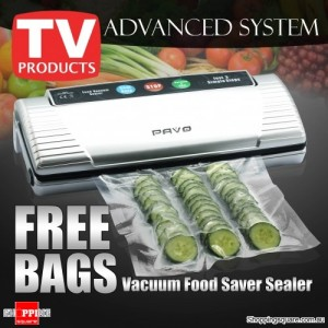 PAVO Food Vacuum Sealer VS2120 with free sealer bags ( 22x30cm x5pcs and 28x40cm x5pcs) Silver color