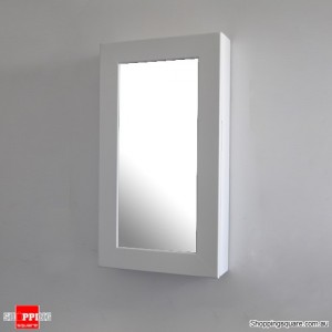 Wooden Wall Mount Mirrored Jewellery Box Cabinet-White Colour