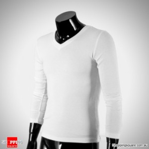 Mens Slim Fit Solid Color Causal Long Sleeve Tight Basic Tee V-neck T-shirt White Colour Size 10