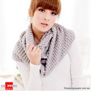 Girl's Lady Knitting Woolen Double Circles Long Scarf Corn Shawl Winter Warm Gray Colour