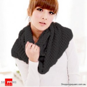 Girl's Lady Knitting Woolen Double Circles Long Scarf Corn Shawl Winter Warm Black Colour