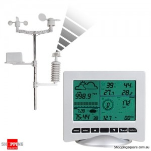 Solar Powered Wireless 5'' LCD Screen Weather Station with PC Connection