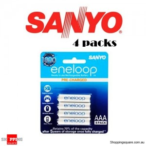 800mah Rechargeable Sanyo eneloop AAA Battery Pack of 4