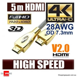 5m Ultra Premium HDMI Cable Gold Plated V2.0 High Speed 3D 4K Ultra HD Audio