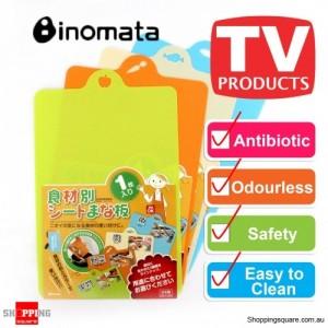 Inomata Folding Index Chopping Board Antibiotic Mat Set of 4 - Meat, Fish, Veg and Fruit
