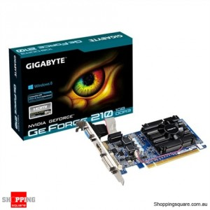 Gigabyte GT210, 1mb, 64 bit GDDR3 PCIE 2.0, D sub DVI HDCP HDMI LP Video Card