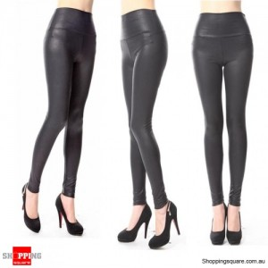 Sexy Lady High Waist Stretchy Faux Leather Look Tight Leggings Pants Size 10