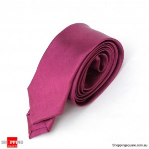 #08 Mens Skinny Solid Color Plain Tie Necktie