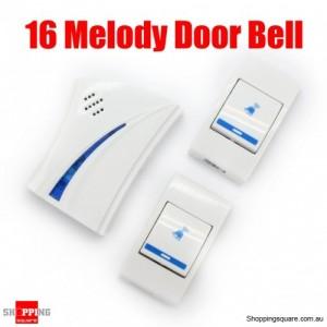 Wireless Door Bell 16 Melody Choice Light Doorbell + 2 Button