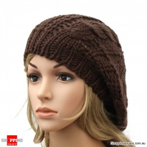Ladies Stylish Baggy Beanie Hat Coffee Colour - DS