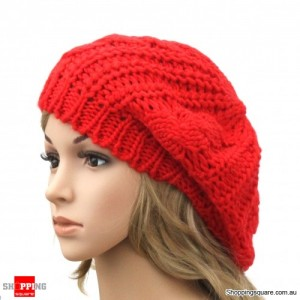 Ladies Stylish Baggy Beanie Hat Red Colour - DS