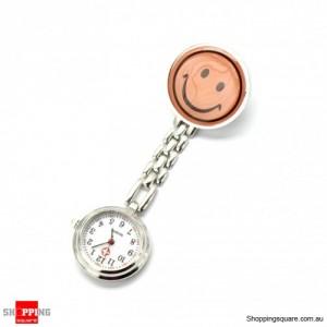 Pink Smile Face Nurse Fob Brooch Pendant Pocket Watch