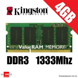 Kingston 4GB DDR3 1333MHz Laptop RAM, PC-10600, So-Dimm