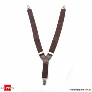 KIDS Clip-on Y-Back Braces Elastic Suspenders 2CM WIDTH Coffee Colour