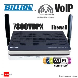 Billion BiPAC 7800VDPX Dual-band Wireless-N ADSL2+ VoIP Firewall Router