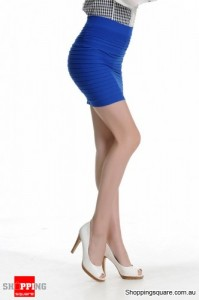 Mini Skirt Slim Fit Seamless Stretch Tight Fitted Girl Blue Colour