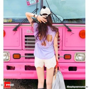 Women Hollow Skull Tee Cut Out Back T-shirt Purple Colour