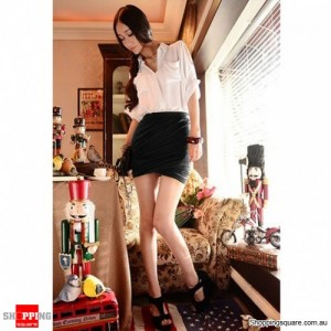 Sexy Cotton Fitted Jersey Mini Skirt Black Colour