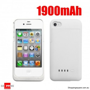 1900mAh Battery Power Bank Case Charger For Ipone4 4S White Colour