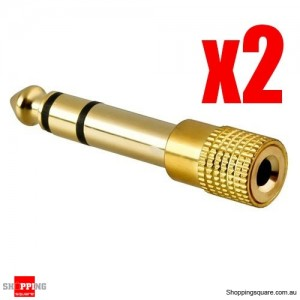 2 pcs Headphone Adaptor Gold 3.5mm Jack Socket to 6.35mm Plug