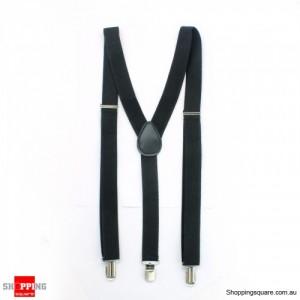 Mens Braces adjustable Elastic clip-on Suspender Y Shape Black Colour