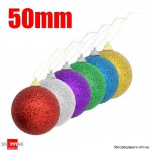 6x 50mm Shining Powder Christmas Balls for Xmas Tree Assorted Colour