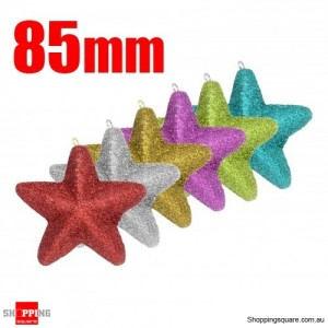 6x 85mm Shining Powder Christmas Stars for Xmas Tree Assorted Colour