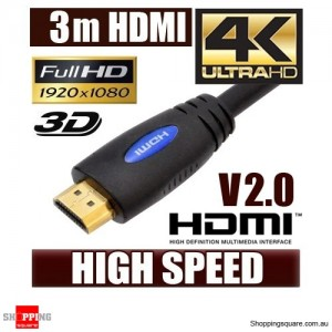 3M HDMI Cable v2.0 3D High Speed with Ethernet HEC 4K Ultra HD Digital Gold Plated Blue