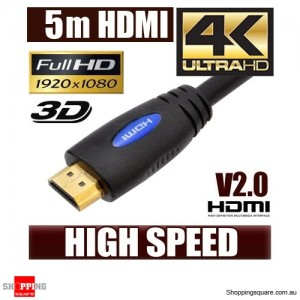 5M HDMI Cable v2.0 3D High Speed with Ethernet HEC 4K Ultra HD Digital Gold Plated Blue