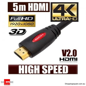 5M HDMI Cable v2.0 3D High Speed with Ethernet HEC 4K Ultra HD Digital Gold Plated Red