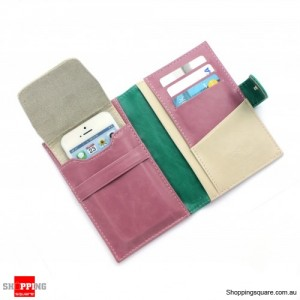 Travel Wallet Leather Passport Holder cover case for IPHONE ipod Pink Colour