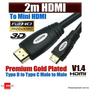 MINI 2M HDMI Cable , High Speed with Ethernet and 1080p , 3D function ,White Colour Black Word