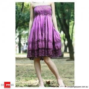 2 in 1 Convertible Tube Top Beach Dress Purple Colour