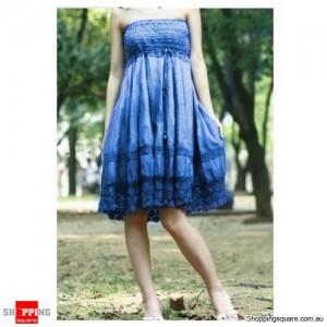 2 in 1 Convertible Tube Top Beach Dress Blue Colour