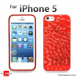 Durable transparent Iphone 5S 5 Crystal Case Clear TPU Red Colour