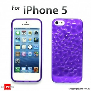 Durable transparent Iphone 5S 5 Crystal Case Clear TPU Purple Colour