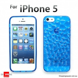 Durable transparent Iphone 5S 5 Crystal Case Clear TPU Blue Colour