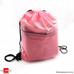 String Bags Drawstring Backpack Tote School Bag pink colour