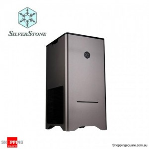 "Silverstone ""Fortress series"" FT03T Titanium Colour Case - Mid tower with 90° M/B mounting, small footprint design, 1x 2.5"", 3x"