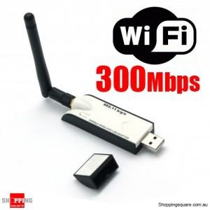 300Mbps USB Wireless N WiFi Adapter Dongle 802.11 bgn 5dBi + Antenna Genuine W5