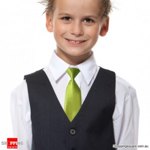 Kids Elastic Tie Necktie Green Colour