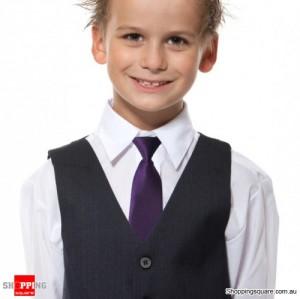 Kids Elastic Tie Necktie Deep Purple Colour