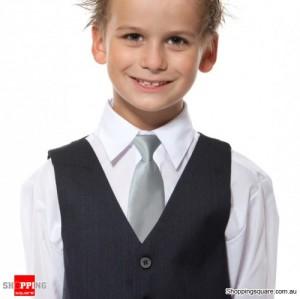 Kids Elastic Tie Necktie Siver Colour