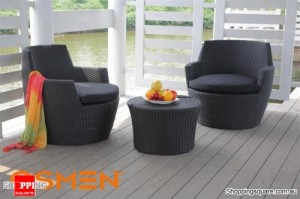 OSMEN Lerida Wicker Outdoor Furniture Balcony Setting 4 Piece Black (Dark Grey)