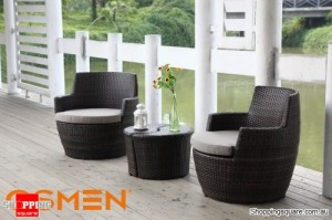 OSMEN Lerida Wicker Outdoor Furniture Balcony Setting 4 Piece Chocolate